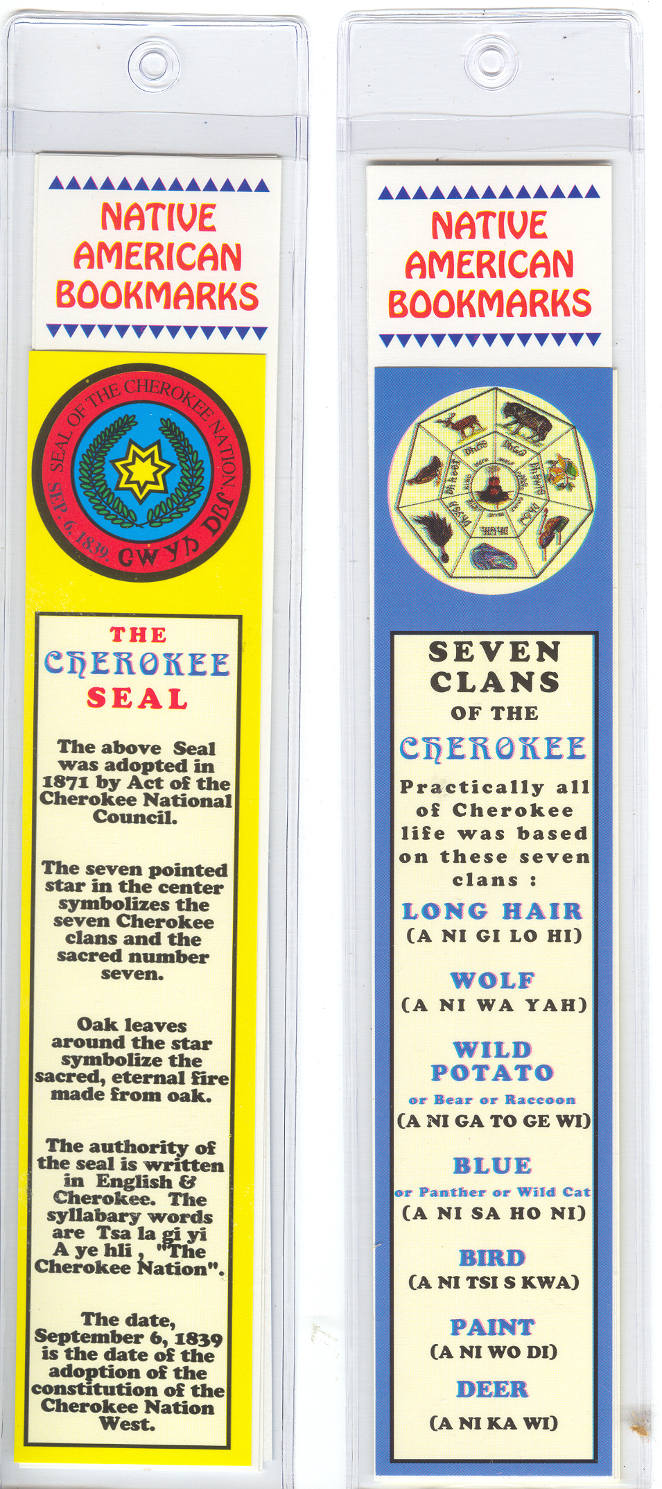 CHEROKEE SEAL/SEVEN CLANS BOOKMARK